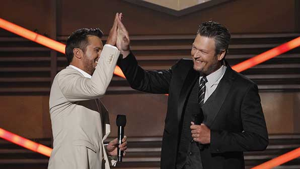Blake Shelton and Luke Bryan will return to co-host the 50th Academy of Country Music Awards.