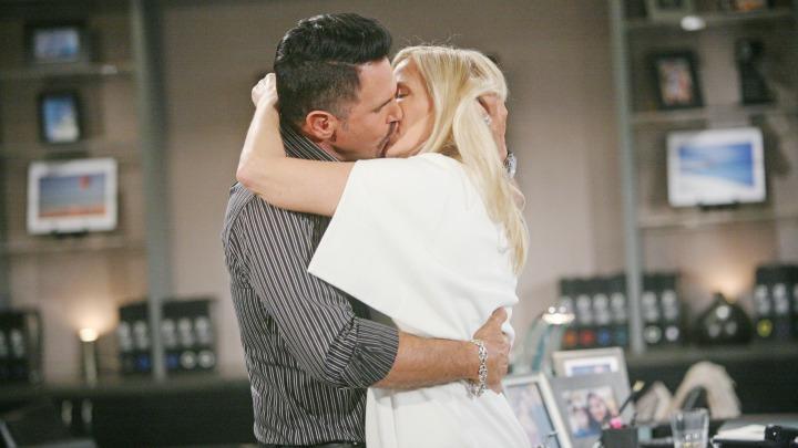 Brooke and Bill passionately embrace.