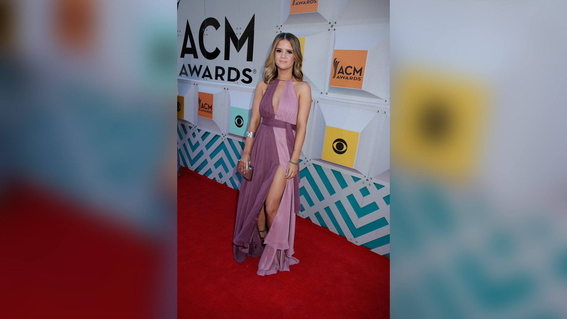 Maren Morris, wearing two shades of lavender, made her ACM Awards red carpet debut in 2016.