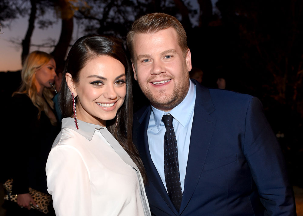 James poses with his first Late Late Show guest, Mila Kunis.