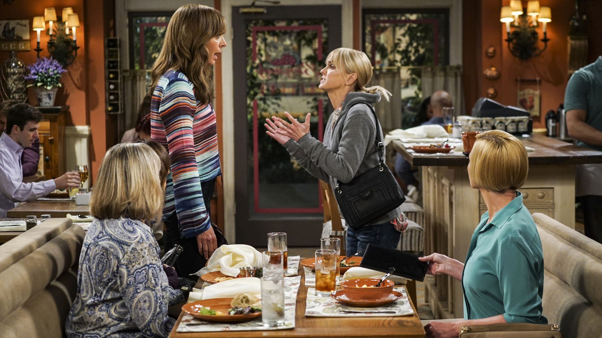 Christy blurts out something to Bonnie in the Season 4 premiere of Mom.