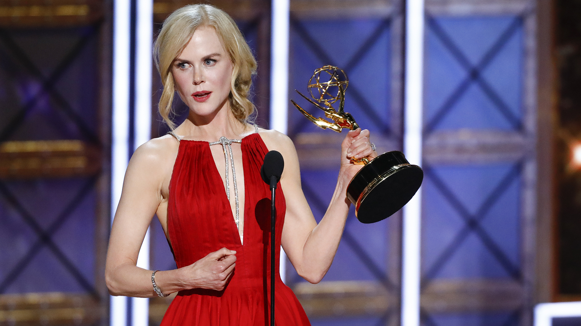 Nicole Kidman wins Outstanding Lead Actress in a Limited Series or a Movie at The 69th Emmy Awards.