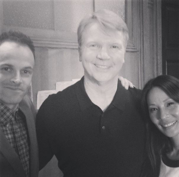 Jonny Lee Miller, Phil Simms and Lucy Liu