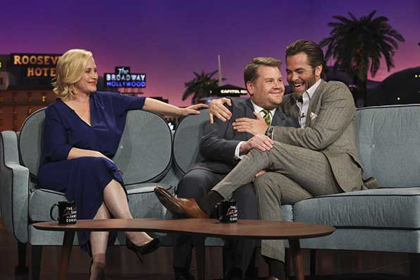Chris Pine gets the best seat in the house.