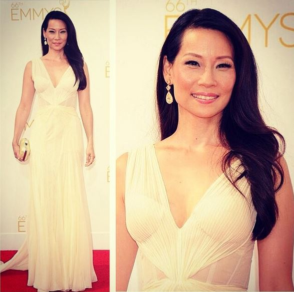 Lucy Liu looks flawless on the Emmys Red Carpet.