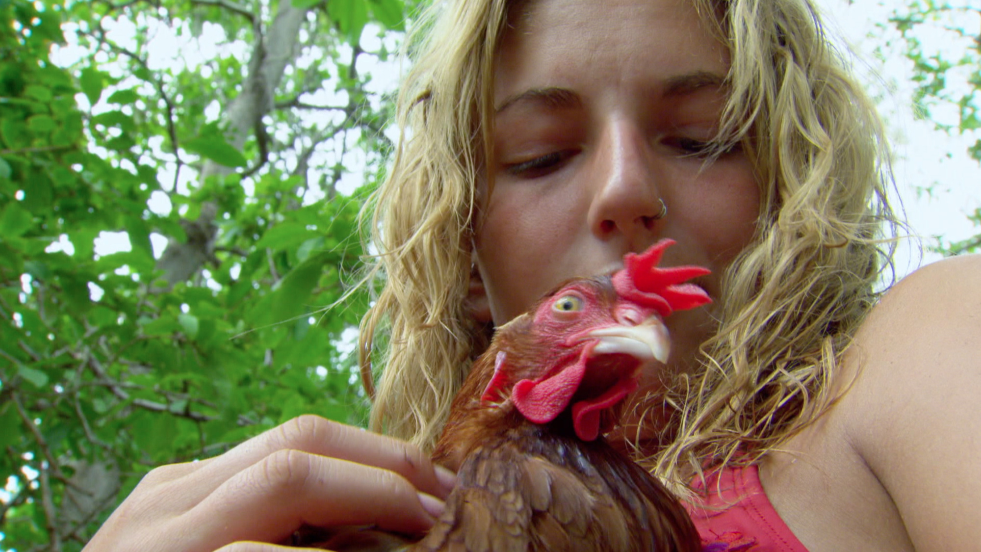 Jenn and a chicken