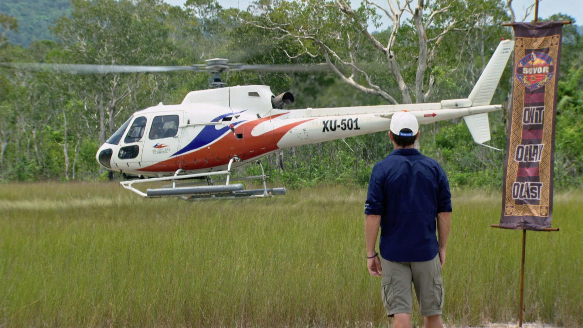 A chopper lands near the Reward Challenge location.