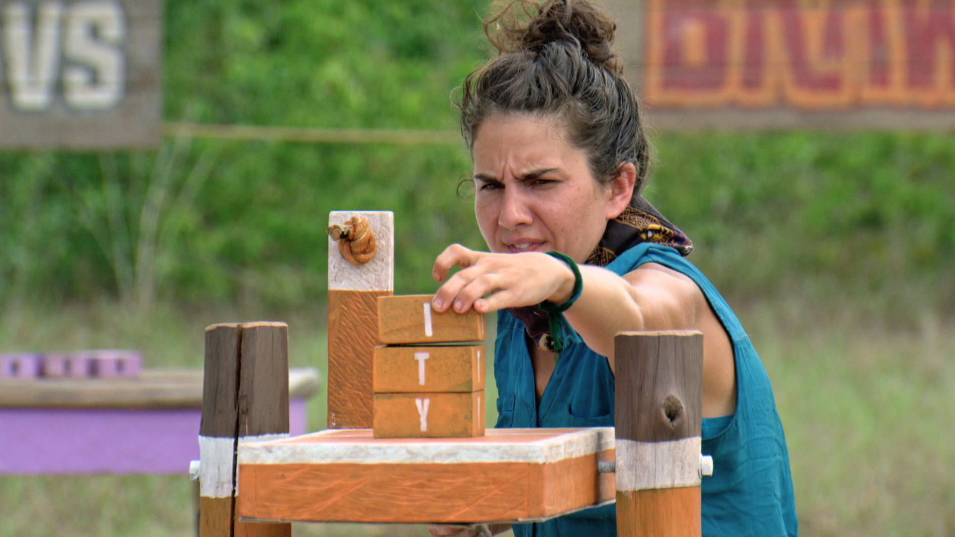 Aubry works to spell out the right word during the Individual Immunity Challenge.