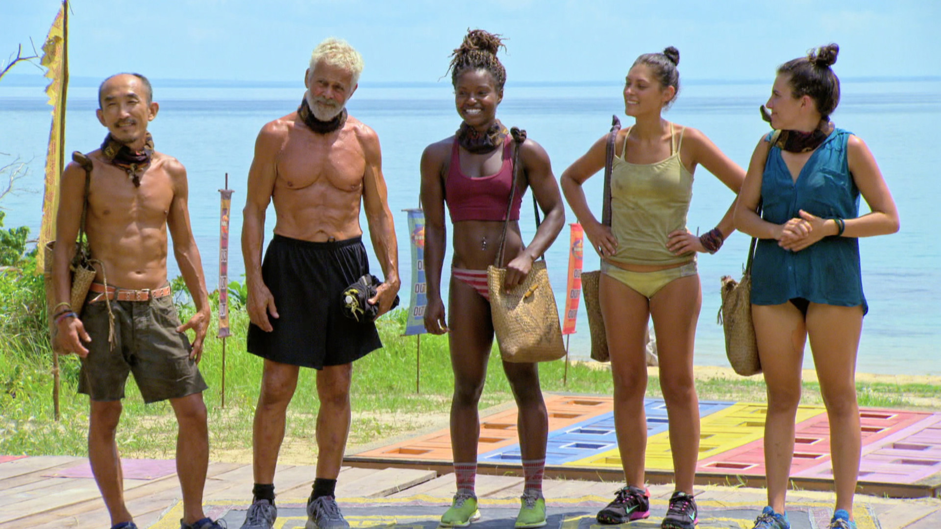 The Final 5 castaways on Survivor: Kaoh Rong get ready for the Individual Reward Challenge.