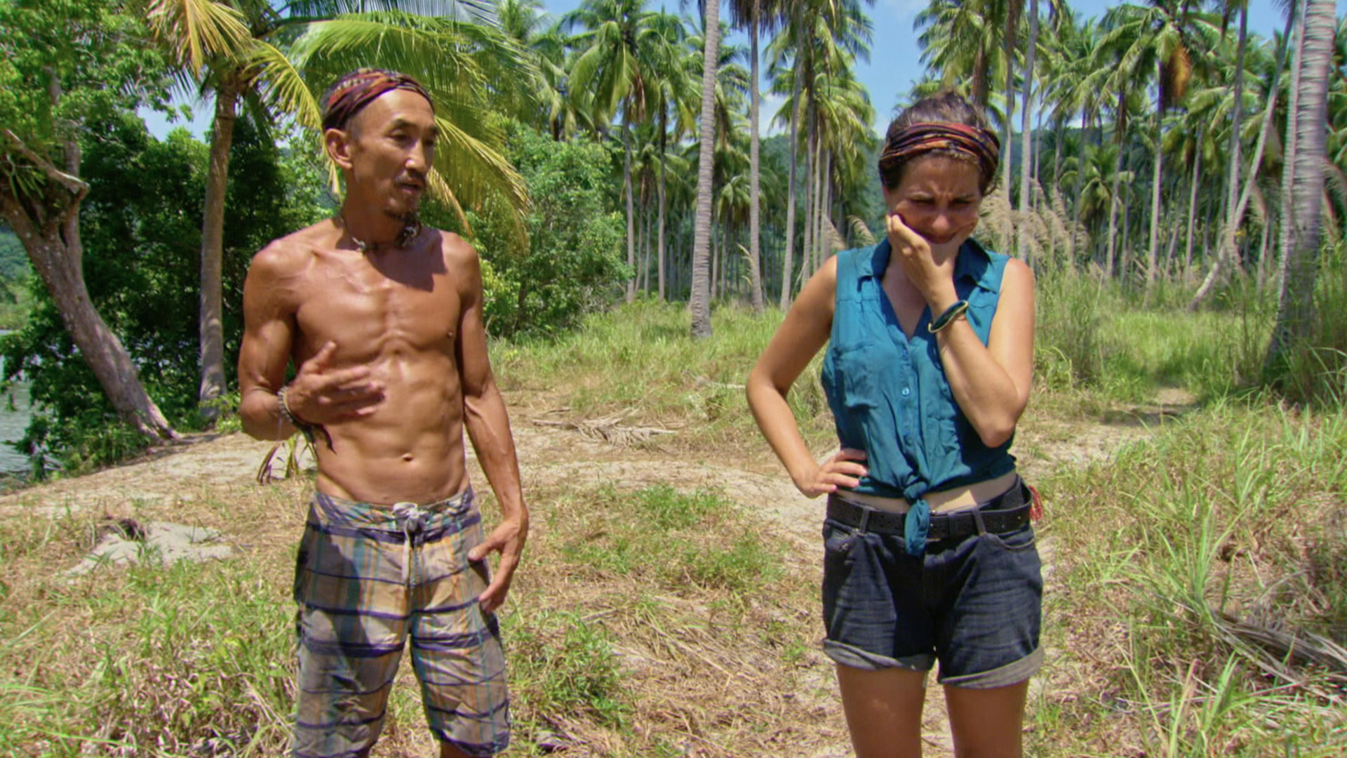 Tai and Aubry walk around camp during their last week on Survivor: Koah Rong.