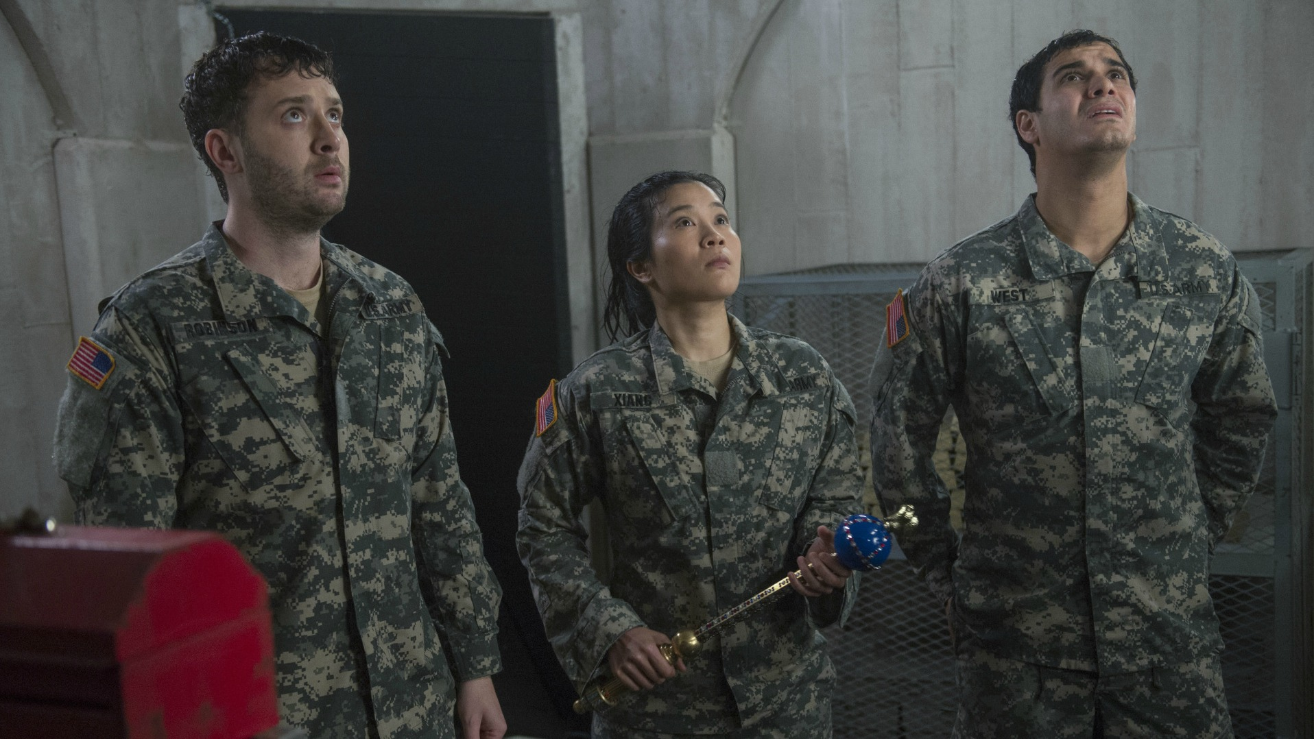 Eddie Kaye Thomas as Toby Curtis, Jadyn Wong as Happy Quinn, and Elyes Gabel as Walter O'Brien