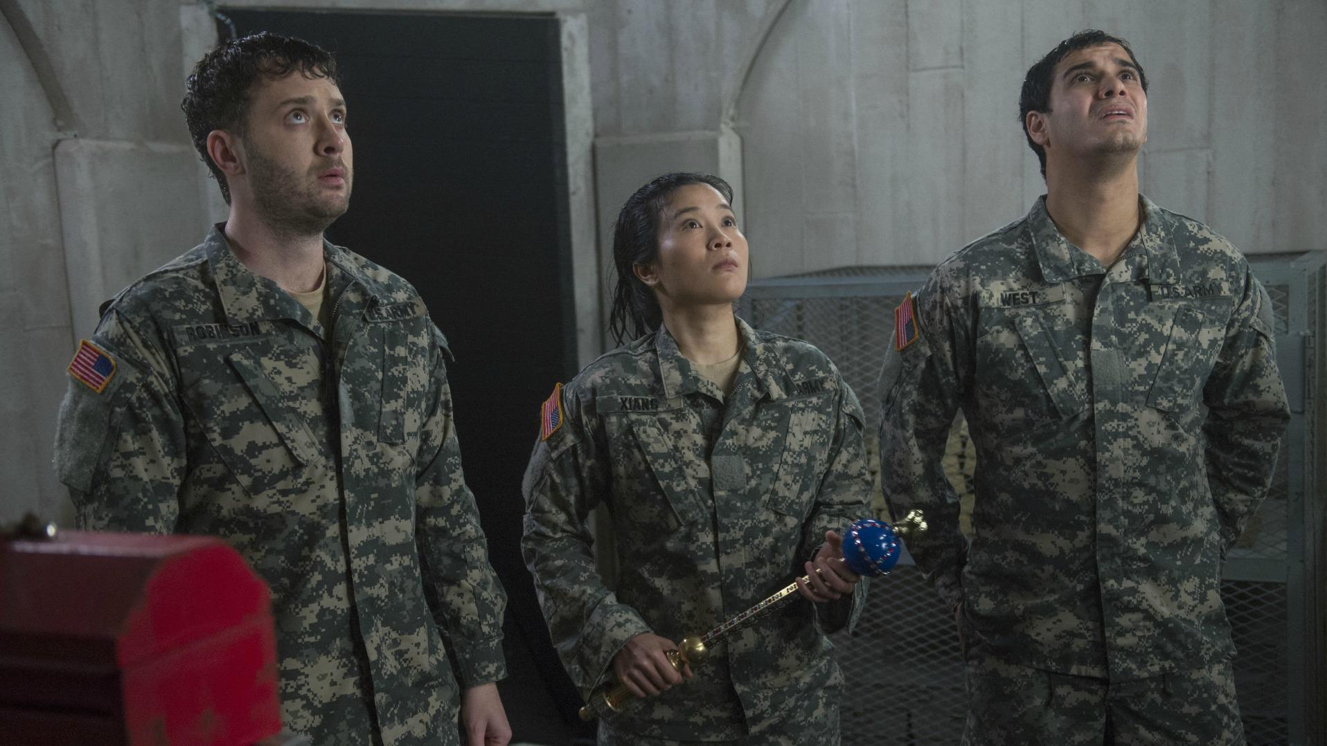 Eddie Kaye Thomas as Toby Curtis, Jadyn Wong as Happy Quinn, and Elyes Gabel as Walter O'Brien