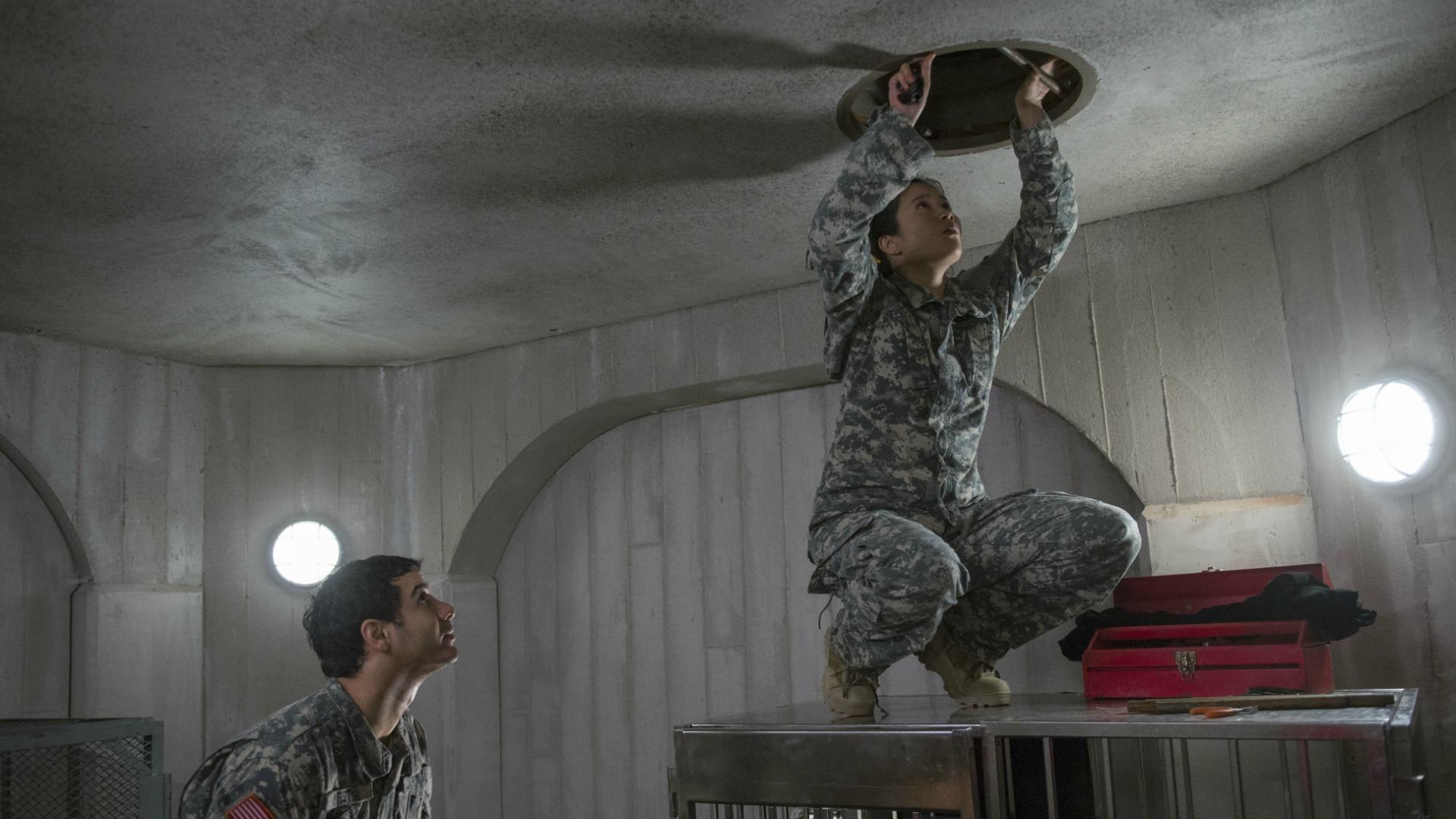 Elyes Gabel as Walter O'Brien and Jadyn Wong as Happy Quinn