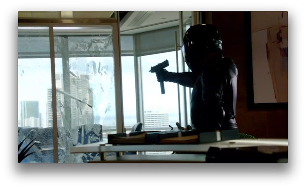 The office shootout that opened the episode featured five large, tempered glass windows. They were destroyed in a single take.