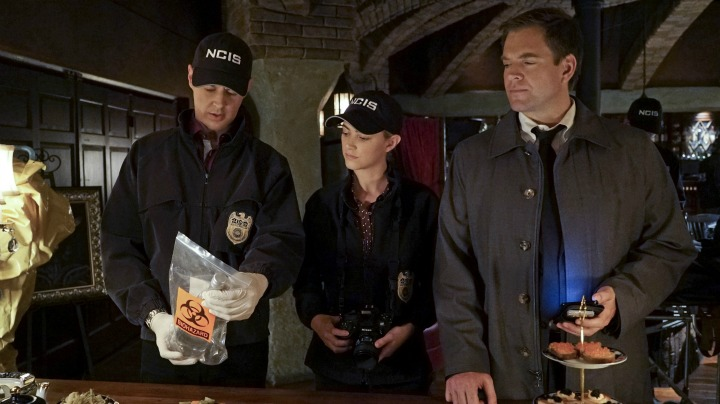 Sean Murray as Timothy McGee, Emily Wickersham as Ellie Bishop, and Michael Weatherly as Anthony DiNozzo
