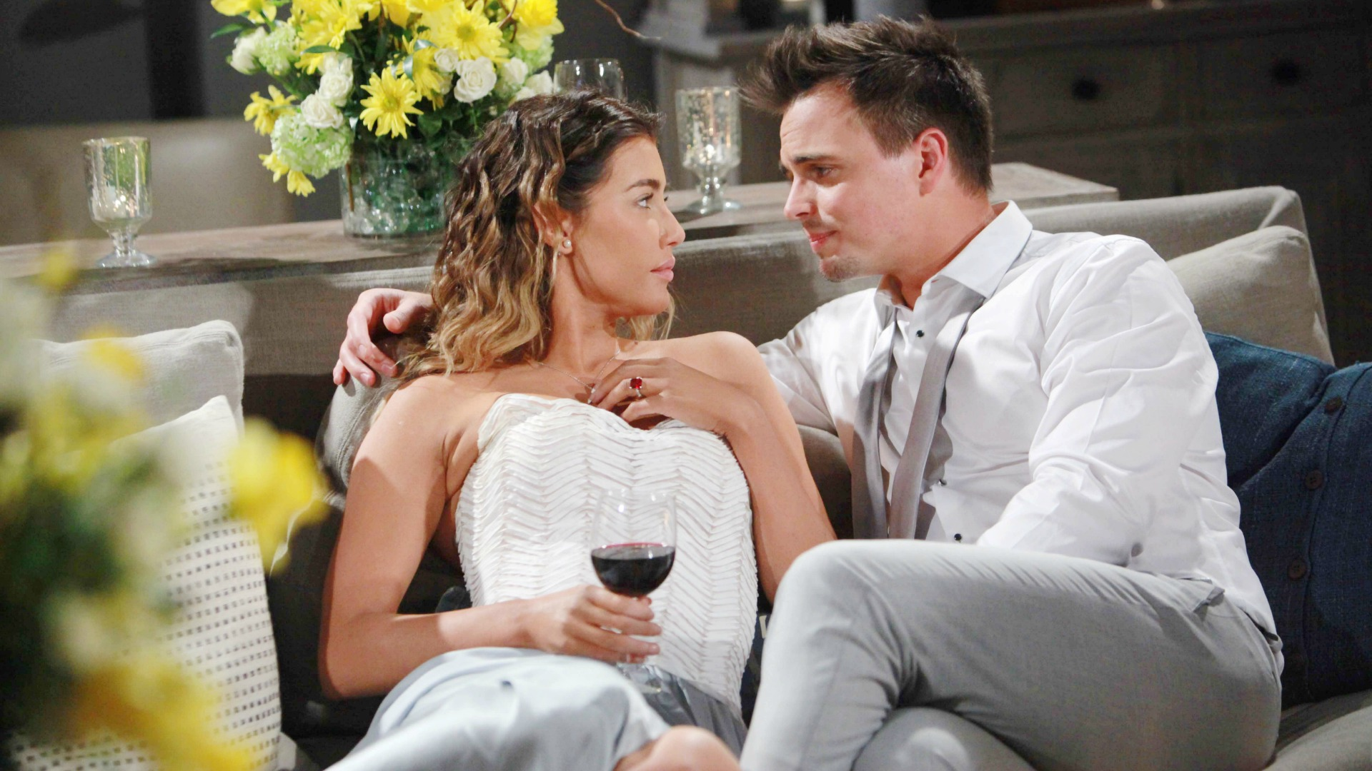 Steffy and Wyatt enjoy their quiet honeymoon at home.