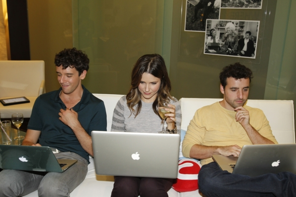 Michael Urie, Sophia Bush and David Krumholtz in the Lounge