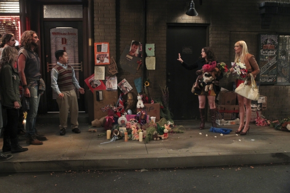 """A sidewalk scene in """"And the Soft Opening"""" Episode 1 of Season 3"""