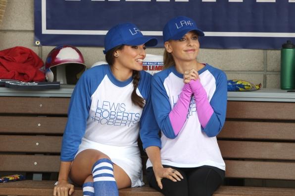 "Girl talk in ""Sixteen-Inch Softball"" Episode 9 of Season 1"