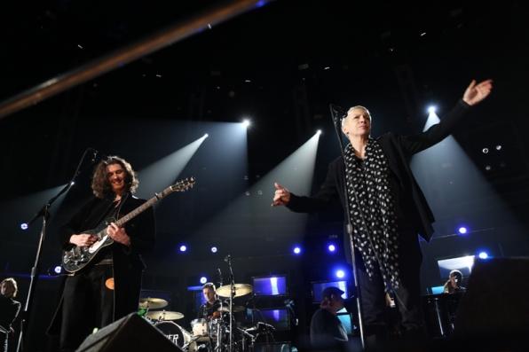 Hozier and Annie Lennox rehearse their collaboration.