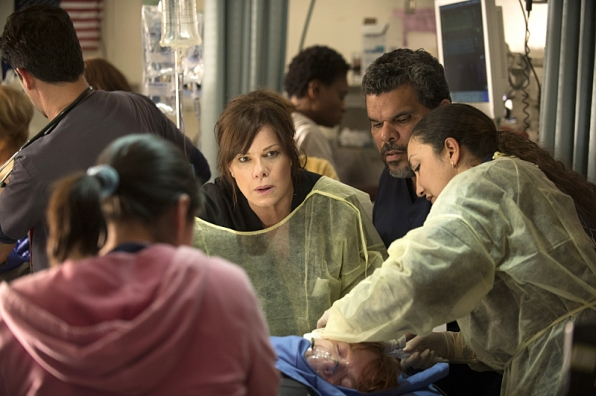 Marcia Gay Harden as Dr. Leanne Rorish and Luis Guzman as Jesse Sallander in <i>Code Black</i>.