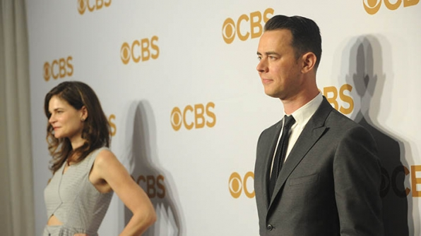 Colin Hanks gave a subtle smile as he joined co-star Betsy Brandt.