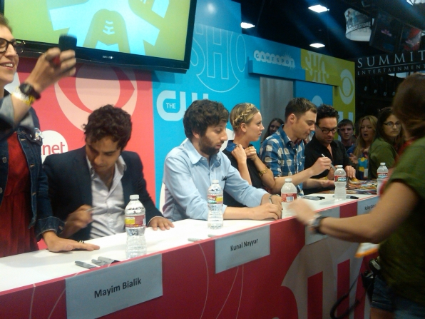 The Big Bang Theory Signs Autographs at the CBS Booth