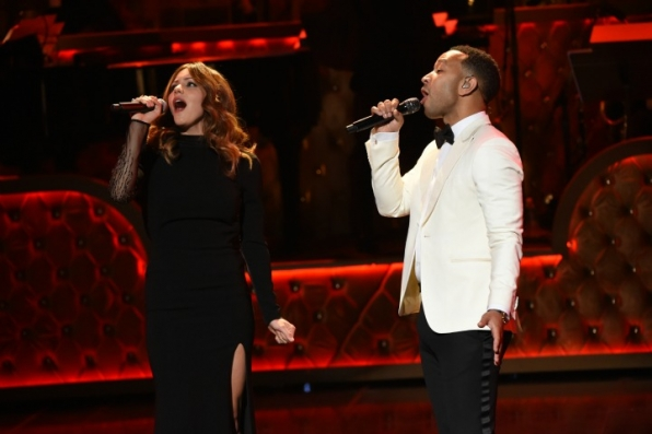 1. Katharine McPhee and John Legend kick off the night in style.