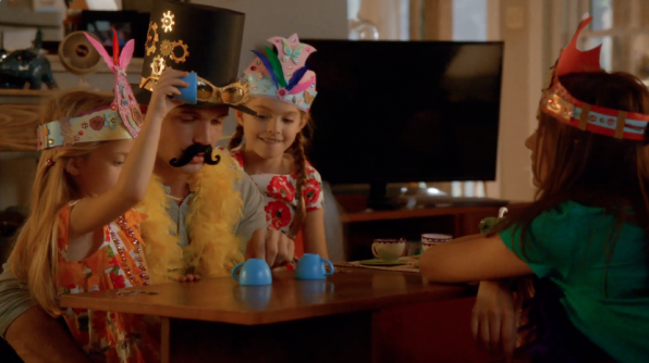 3. The Reckless crew had a lot of fun shooting the tea party scene-- until the youngest guest star started eating the props!