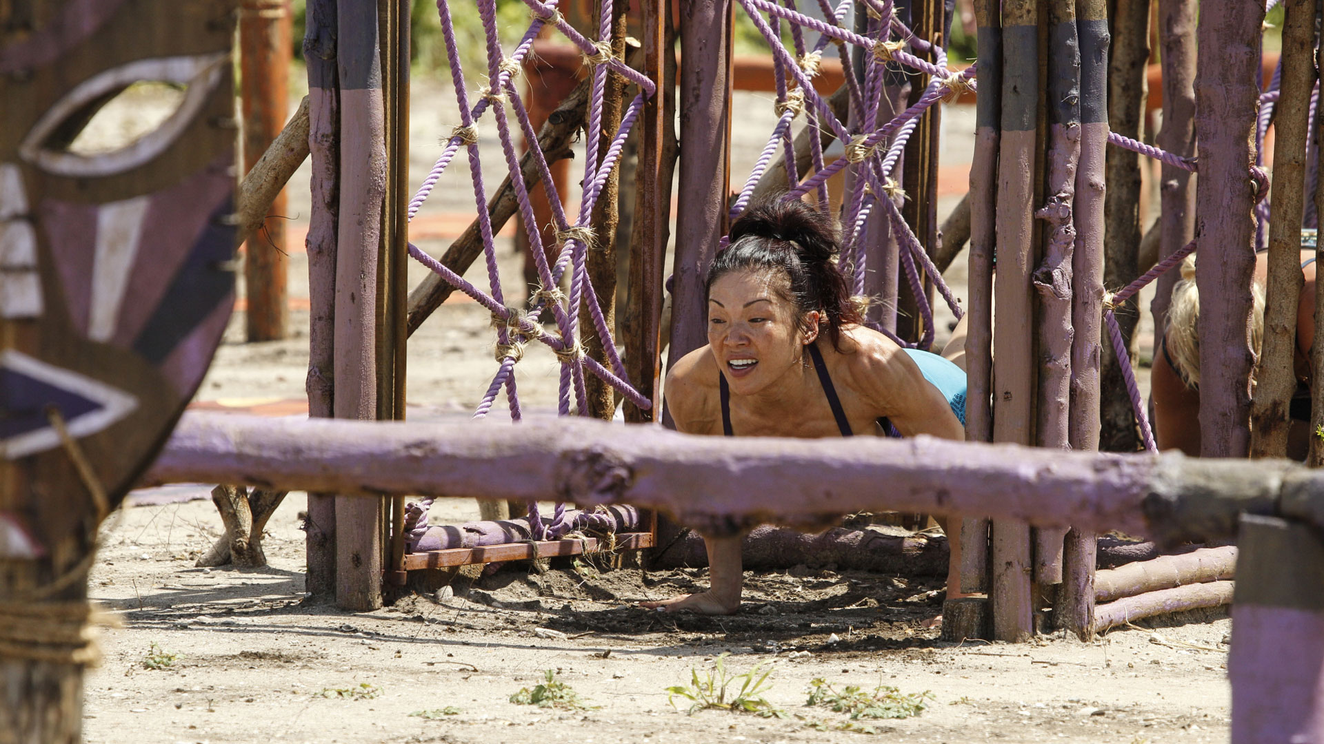 Lucy Huang represents the Gen X-ers as she wiggles her way through the Immunity Challenge.