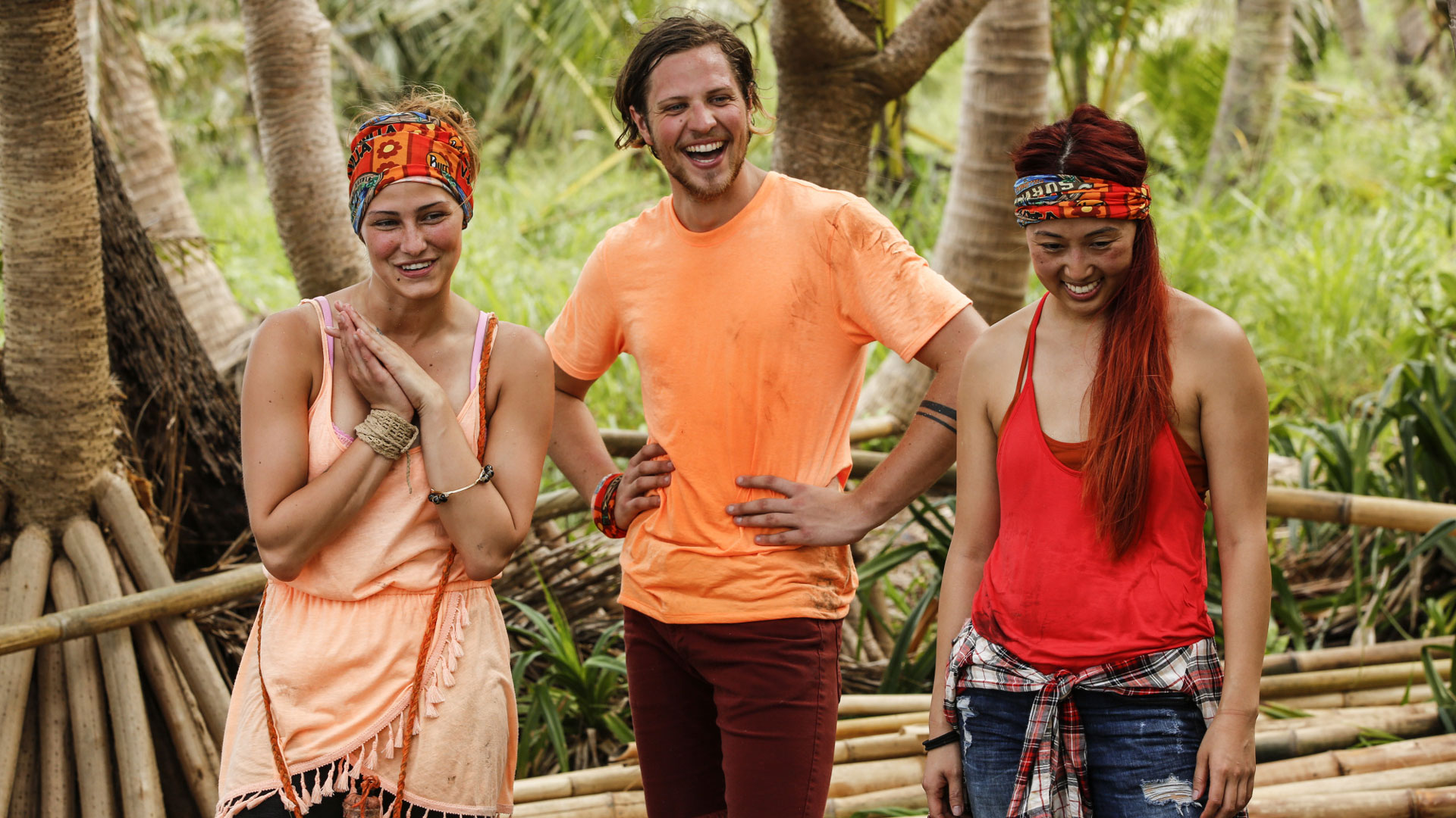 Jessica Figueroa, Taylor Stocker, and Mari Takahashi stand proud as castaways of the Vanua (Millennials) Tribe.