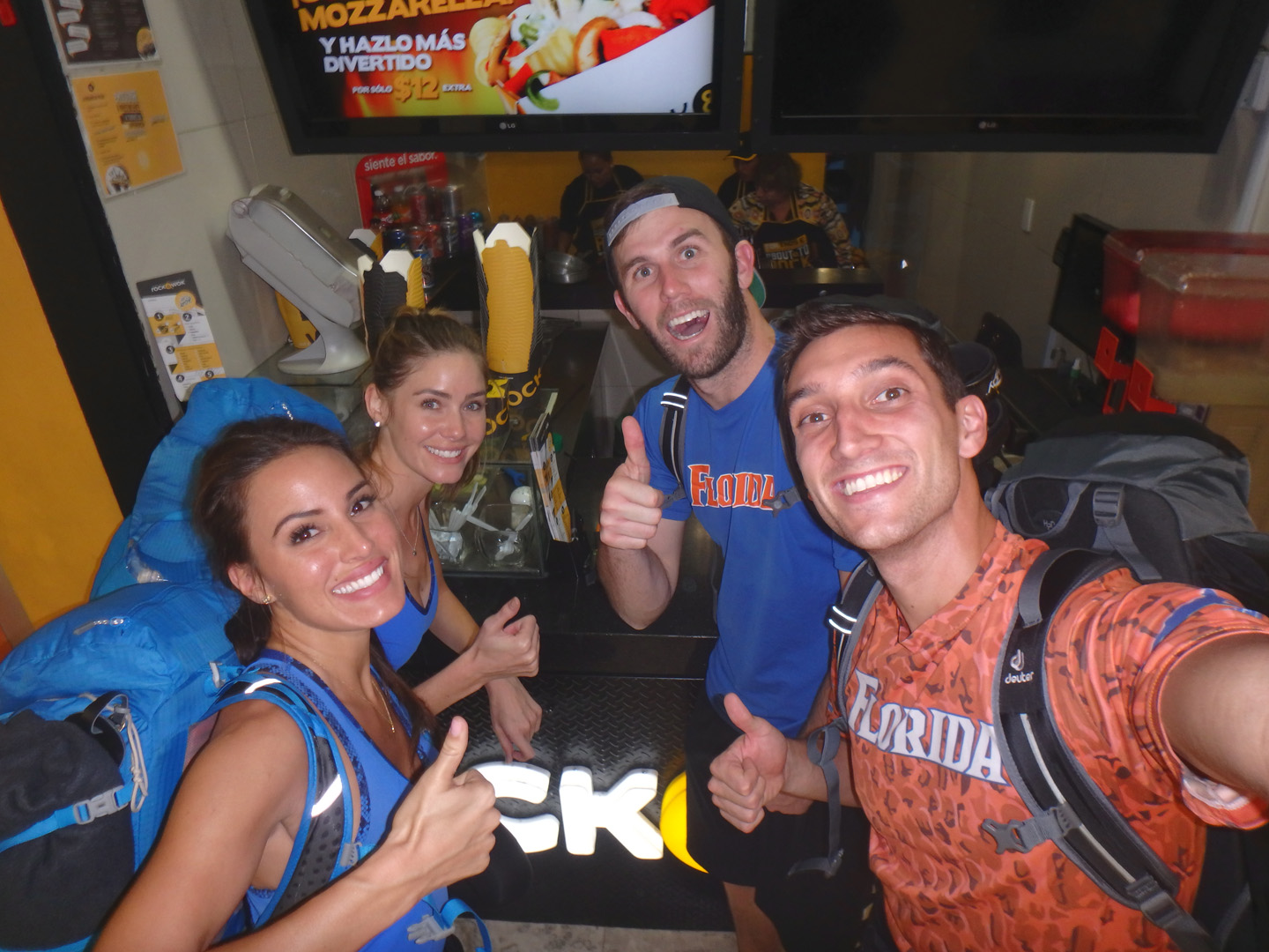 Brittany, Jessica, Brodie, and Kurt gave four thumbs up from Mexico.