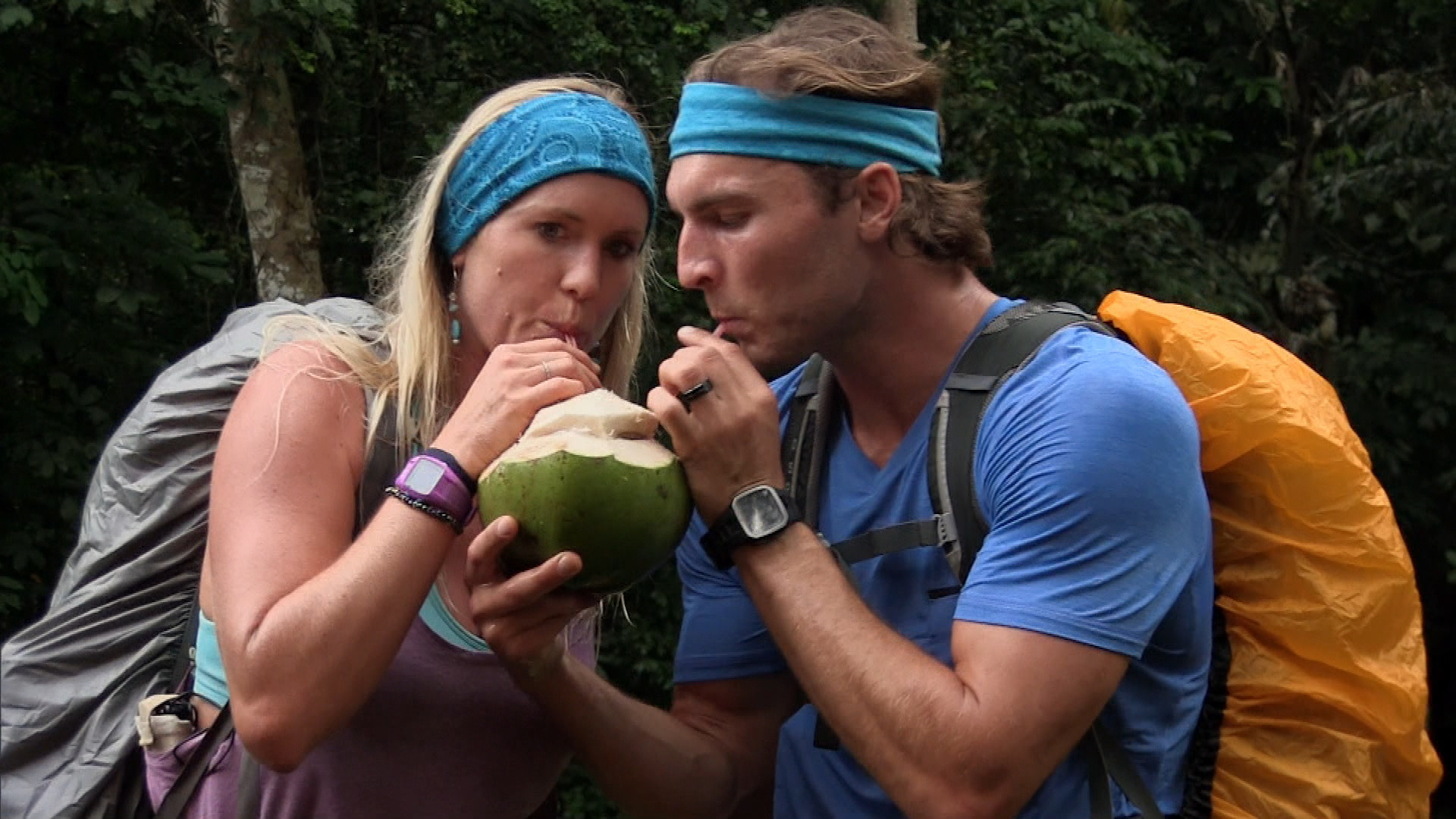 Drinking from a coconut