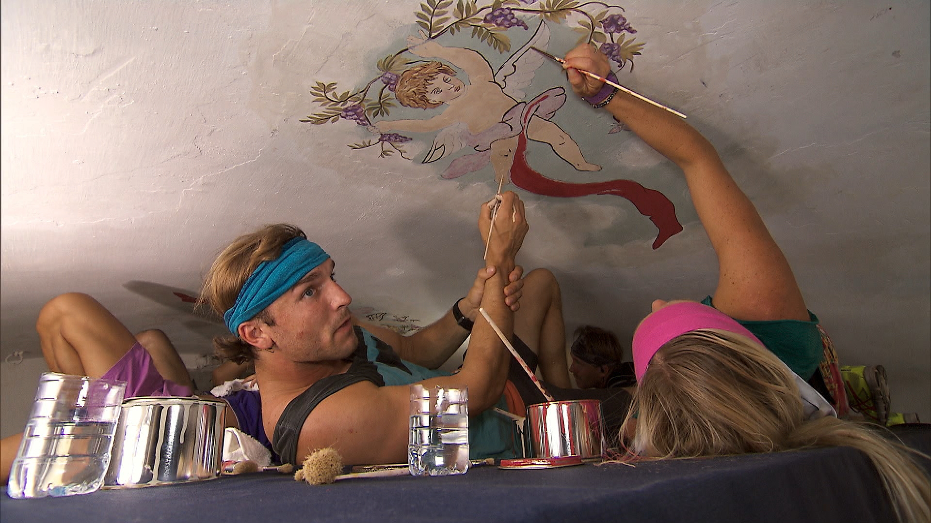 Painting the ceiling fresco