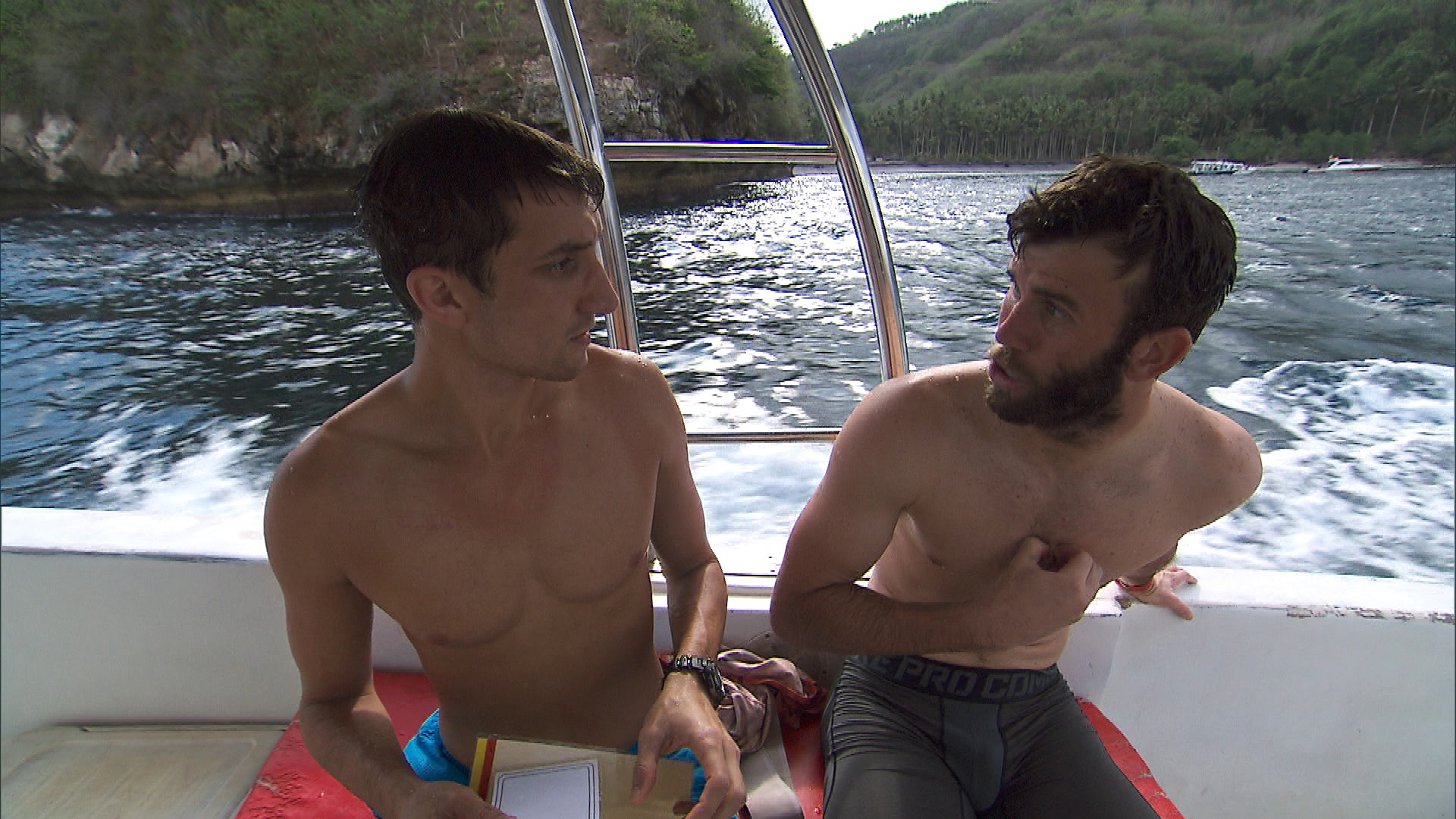 Kurt and Brodie strategize after snorkeling.