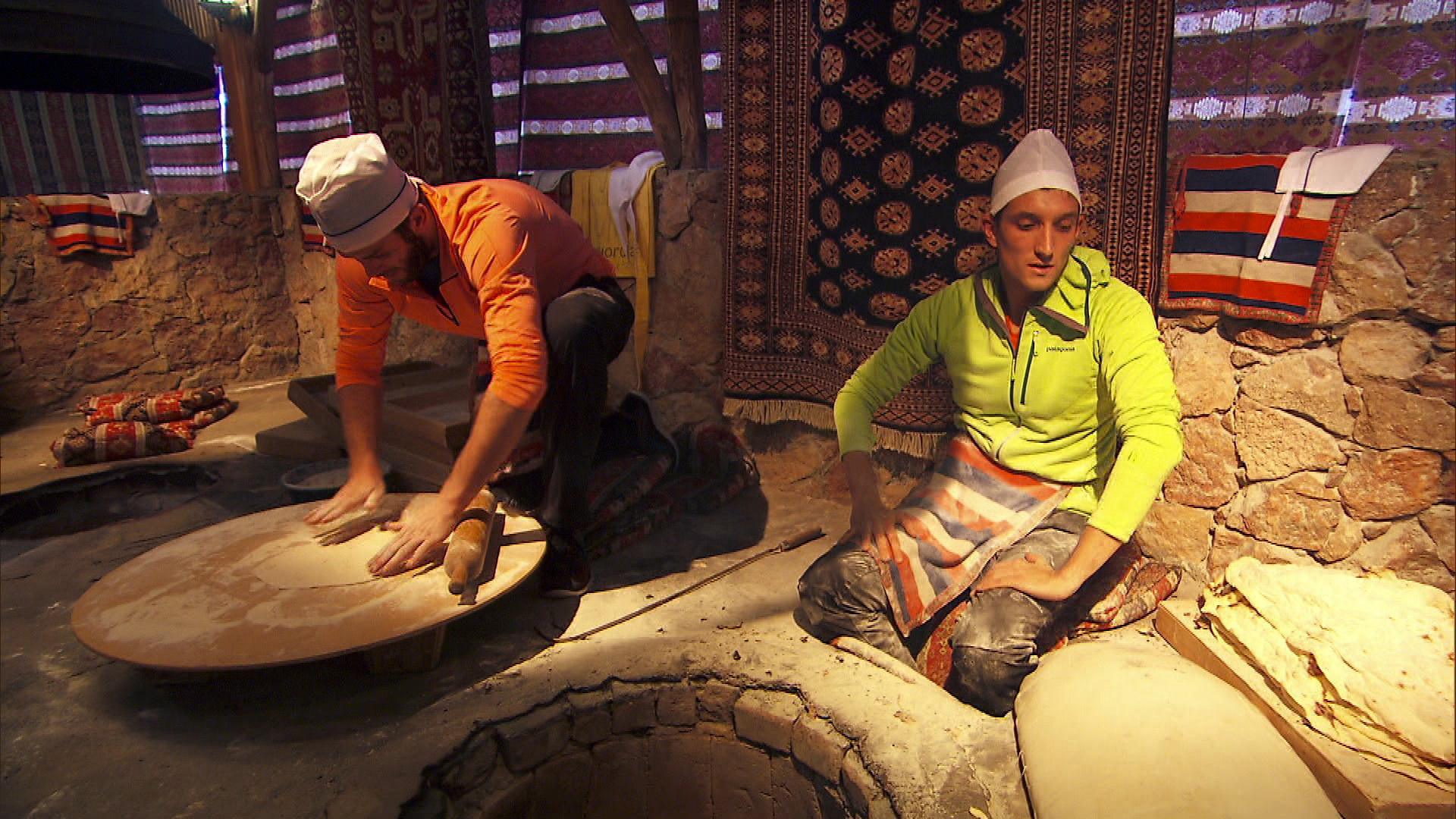 In Detour B, Brodie and Kurt bake 15 lavash breads in order to receive the next clue.