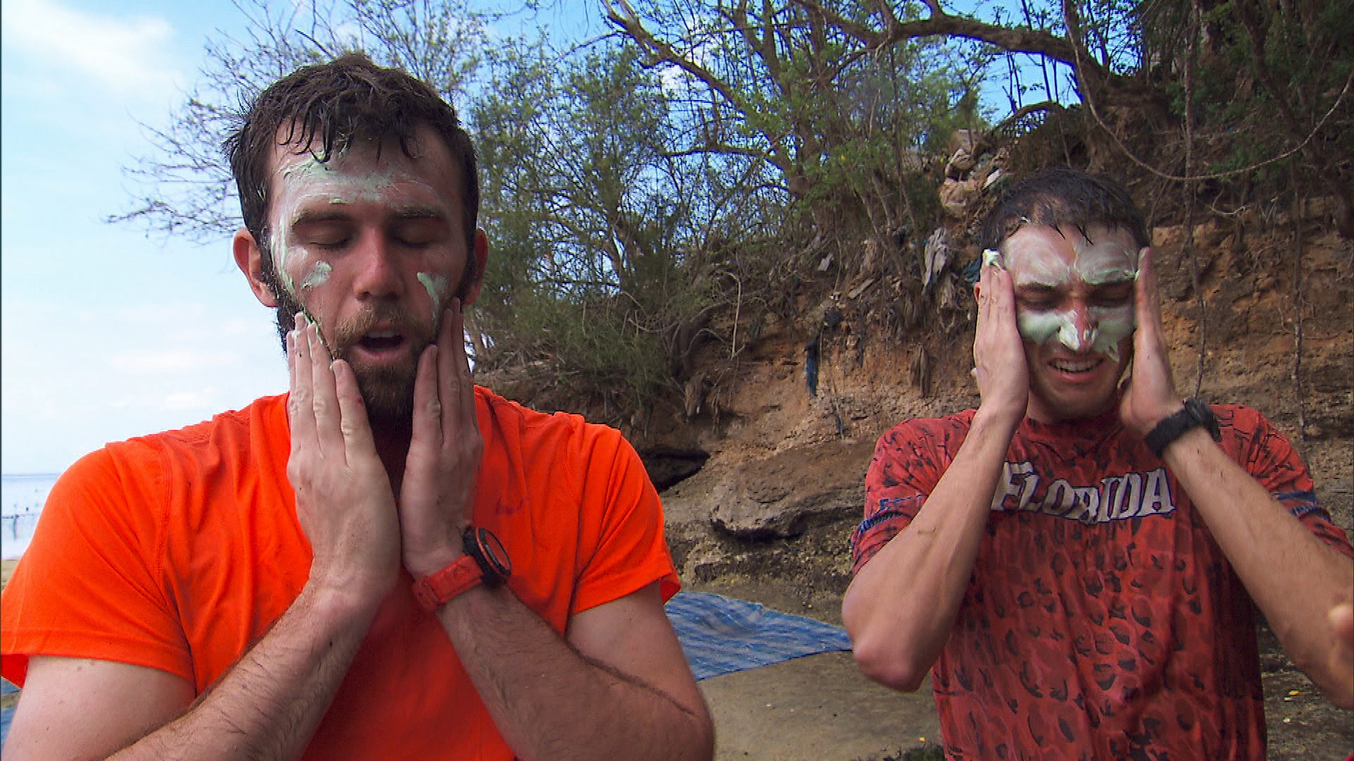 At Detour B, Brodie and Kurt sample the farmer's face cream in order to receive the next clue.