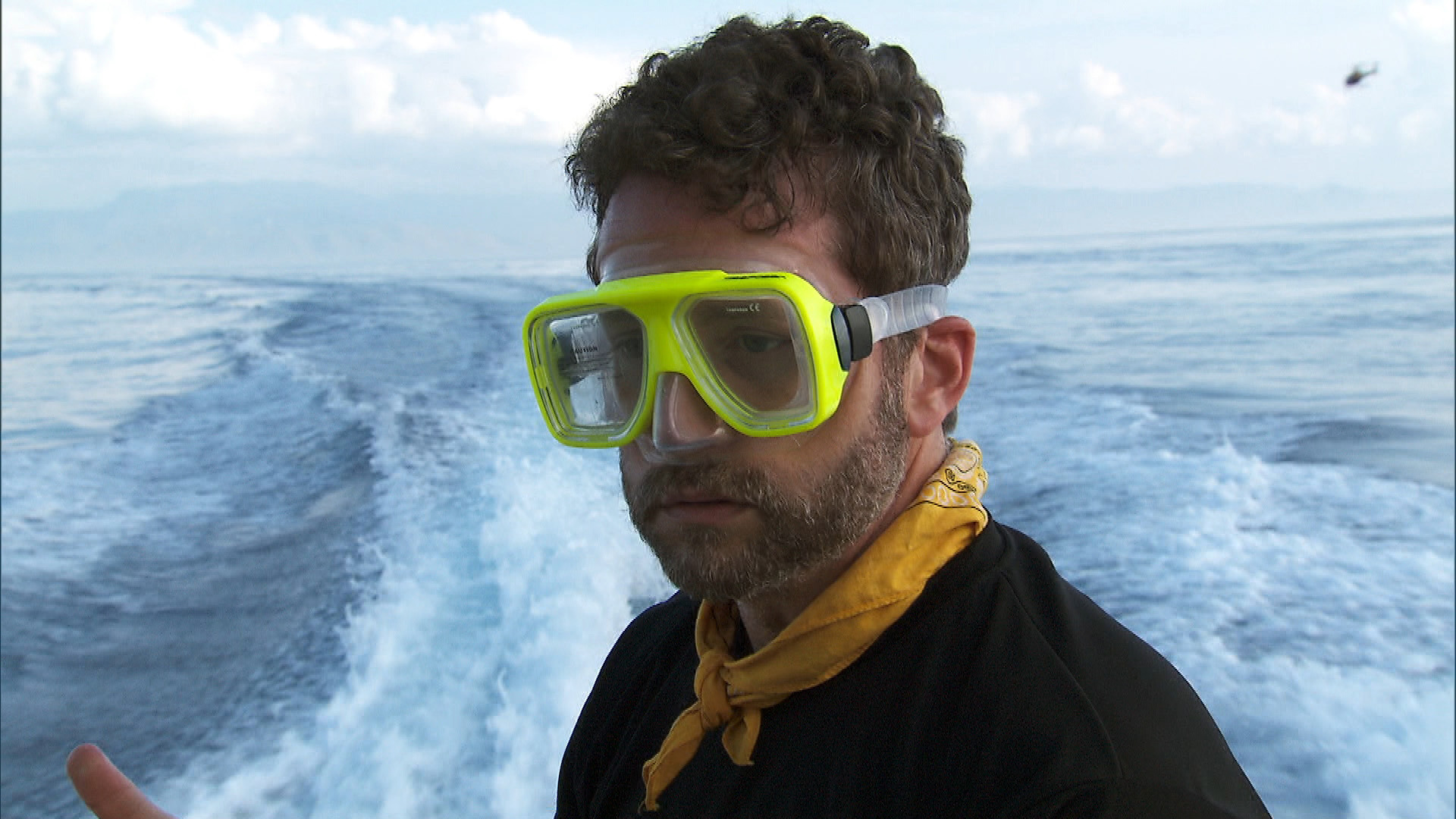 Burnie prepares to go snorkeling at the Active Route Marker.