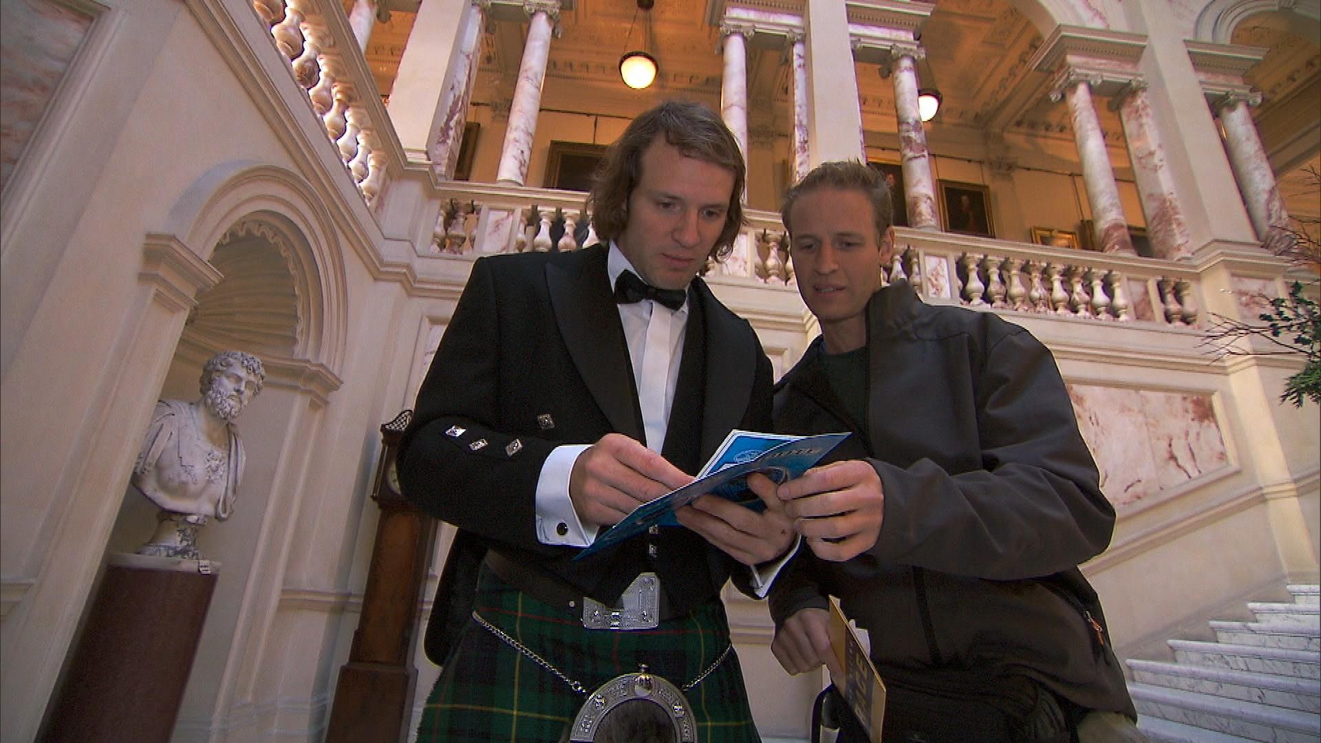 Dressed in Scottish attire in