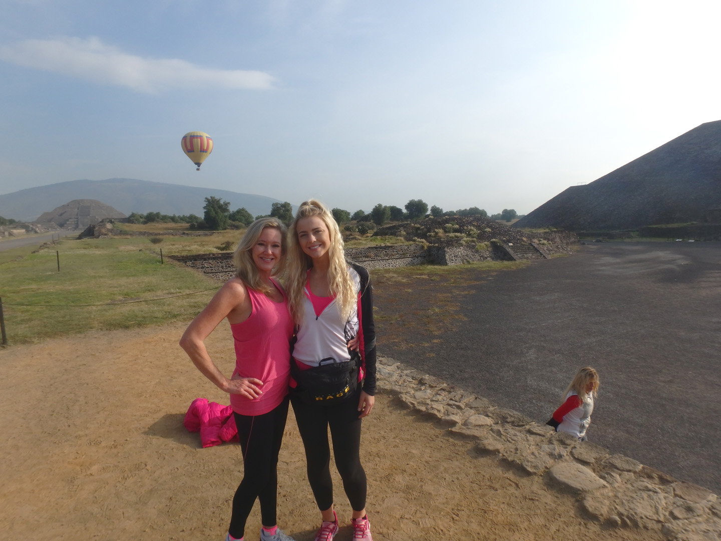 Marty and Hagan acted fast to capture the perfect picture next to a hot air balloon.
