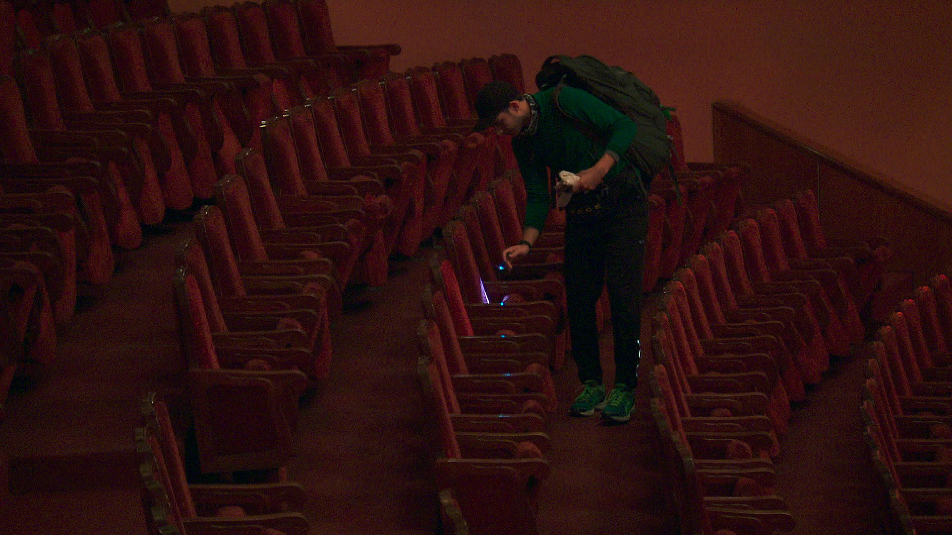 Korey searches for a clue at the Yerevan Opera Theater.