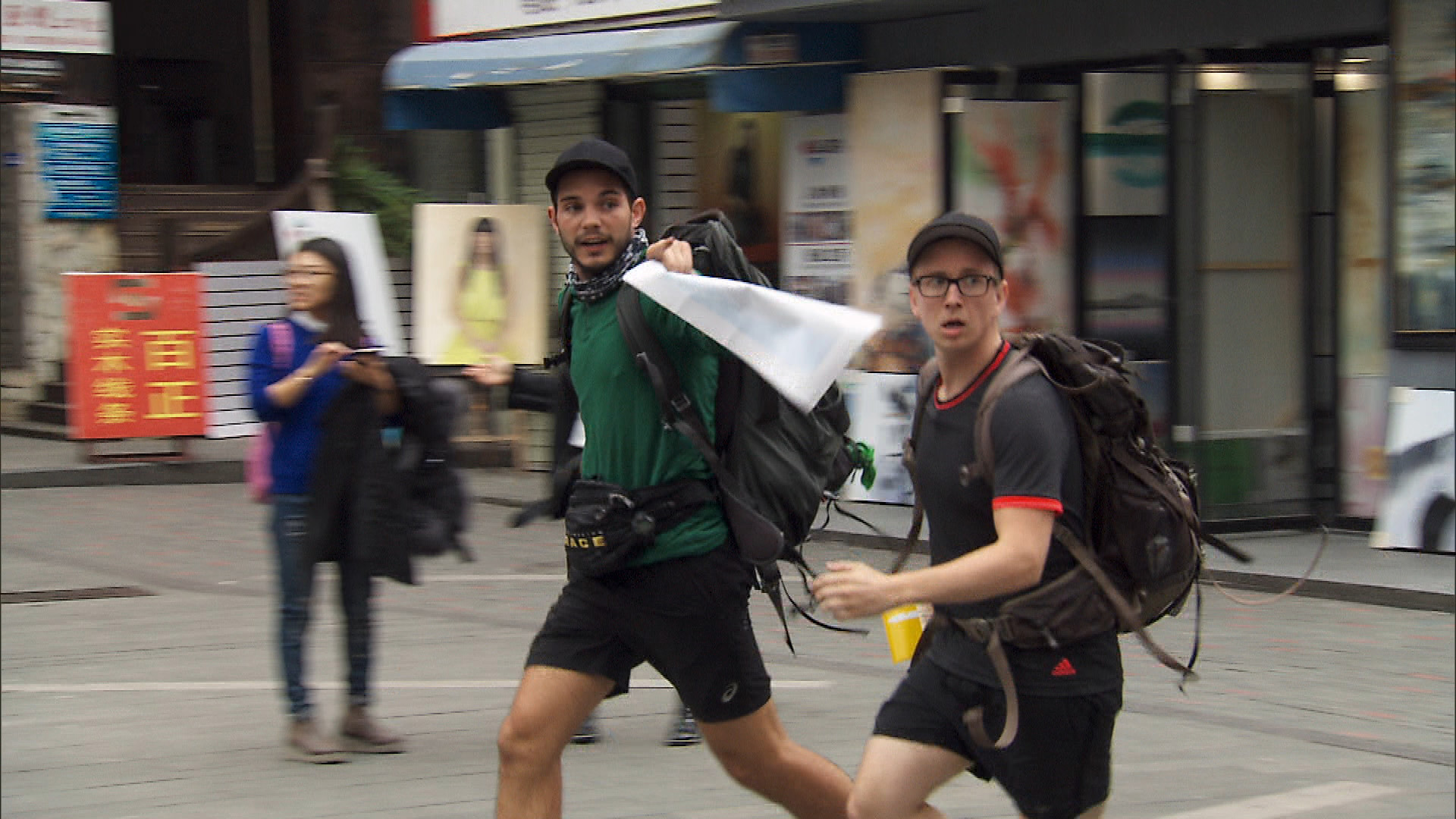 Korey and Tyler make their way to the next  Race location in Shenzhen, China.