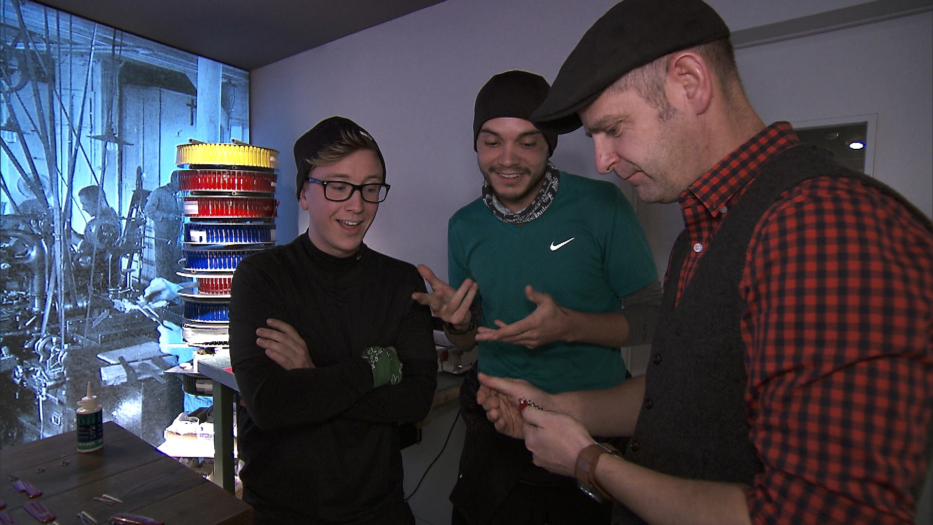 In Detour A, Tyler and Korey wait to see if they properly assembled the famous pocket knife.