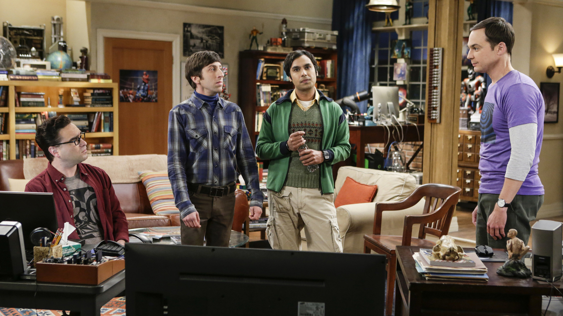 Leonard, Howard, Raj, and Sheldon discuss their current predicament.