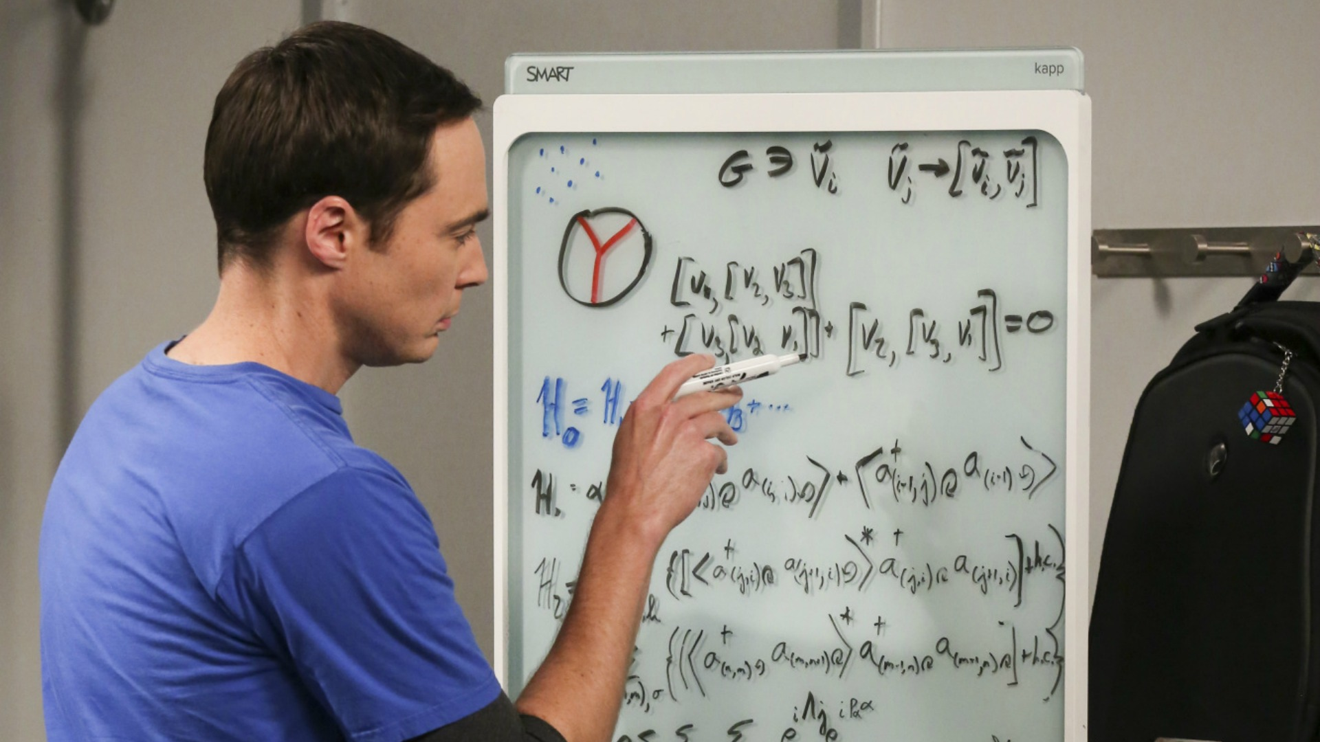 Sheldon works on a difficult equation.