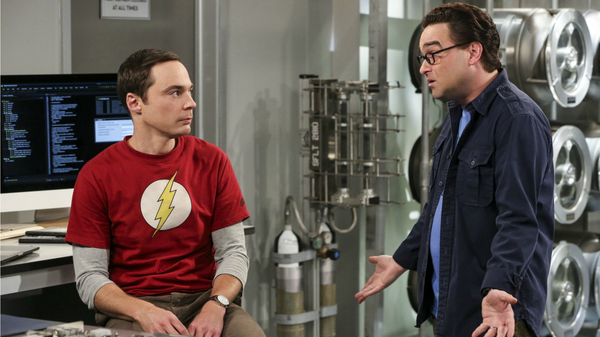 Leonard tries to reason with Sheldon.