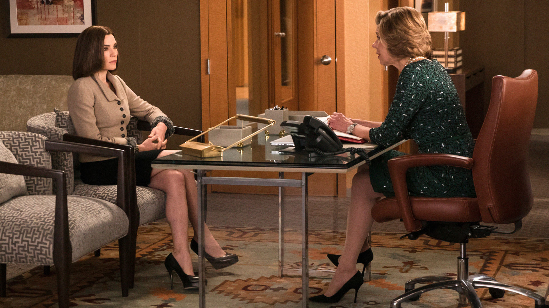 Julianna Margulies as Alicia Florrick and Christine Baranski as Diane Lockhart