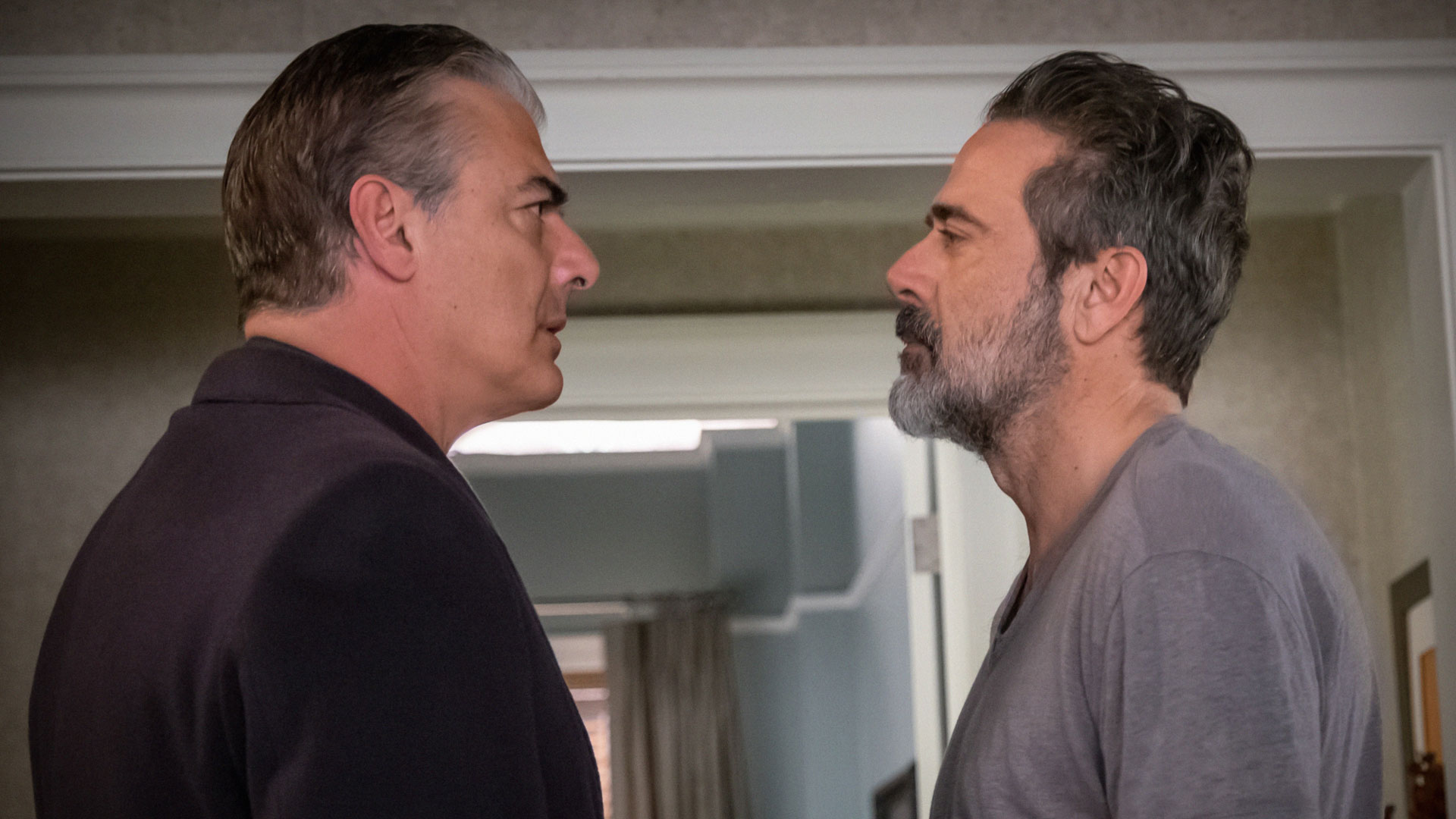 Chris Noth as Peter Florrick and Jeffrey Dean Morgan as Jason Crouse