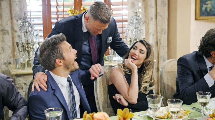 Steffy flashes her bling at the table.