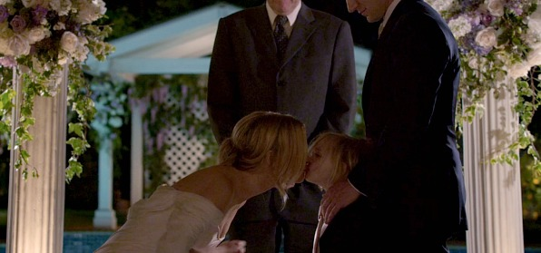When he was his mom's first kiss at the altar.